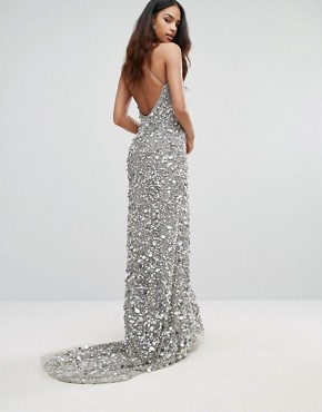 photo Plunge Embellished Maxi Dress with Train by A Star Is Born, color Silver - Image 2