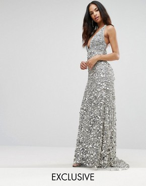 photo Plunge Embellished Maxi Dress with Train by A Star Is Born, color Silver - Image 1