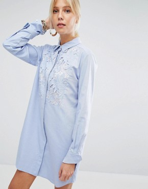 photo Shirt Dress with Lace Panel by Sportmax Code, color Light Blue - Image 1