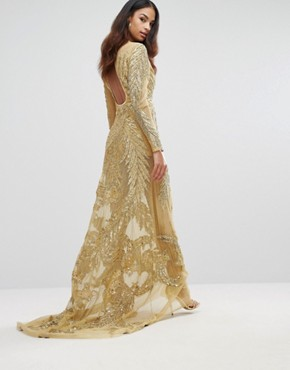 photo Mesh Maxi Dress with Placement Embellishment by A Star Is Born, color Gold - Image 2
