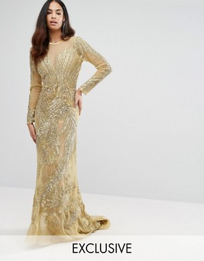photo Mesh Maxi Dress with Placement Embellishment by A Star Is Born, color Gold - Image 1