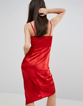 photo Crossover Slinky Asymetric Midi Dress by NaaNaa Petite, color Red - Image 2