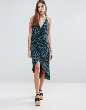photo Gathered Cami Wrap Dress With Cami Straps by Liquorish, color  - Image 1
