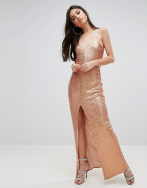 photo Allover Sequin Cross Back Maxi Dress by NaaNaa Petite, color Rose Gold - Image 2