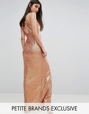 photo Allover Sequin Cross Back Maxi Dress by NaaNaa Petite, color Rose Gold - Image 1
