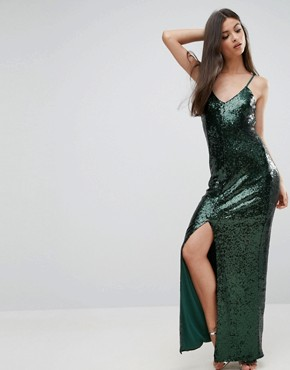 photo Allover Sequin Cross Back Maxi Dress by NaaNaa Petite, color Green - Image 2
