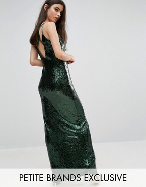 photo Allover Sequin Cross Back Maxi Dress by NaaNaa Petite, color Green - Image 1