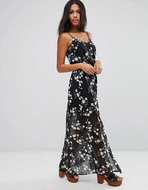 photo Ditsy Floral Print Maxi Cami Dress With Side Split by Liquorish, color  - Image 1