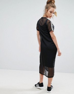photo Black Midi Dress with Sheer Mesh Overlay by Adidas Originals, color Black - Image 2