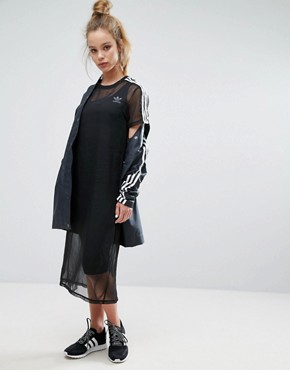 photo Black Midi Dress with Sheer Mesh Overlay by Adidas Originals, color Black - Image 1