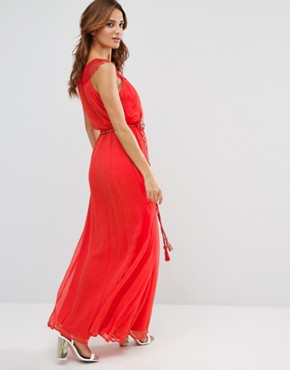 photo Amboseli Beaded Maxi Dress by French Connection, color Masai Red - Image 2