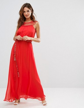 photo Amboseli Beaded Maxi Dress by French Connection, color Masai Red - Image 1