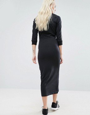 photo Black Three Stripe Midi Dress by Adidas Originals, color Black - Image 2