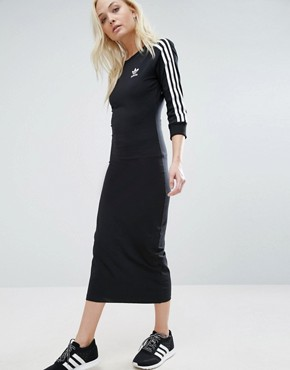 photo Black Three Stripe Midi Dress by Adidas Originals, color Black - Image 1