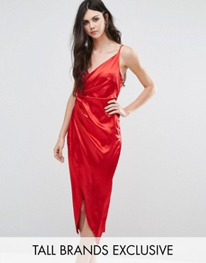 photo Crossover Satin Asymetric Midi Dress by NaaNaa Tall, color Red - Image 1