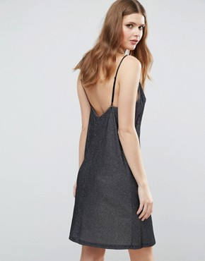 photo Plunge Front Metallic Cami Dress by NaaNaa Tall, color Guntmetal - Image 2