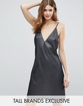 photo Plunge Front Metallic Cami Dress by NaaNaa Tall, color Guntmetal - Image 1
