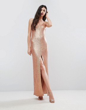 photo Allover Sequin Cross Back Maxi Dress by NaaNaa Tall, color  - Image 2