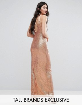 photo Allover Sequin Cross Back Maxi Dress by NaaNaa Tall, color  - Image 1