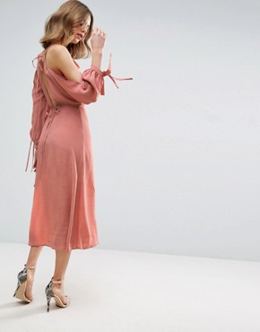 photo Cold Shoulder Long Sleeve Midi Dress by ASOS, color Dusty Pink - Image 2