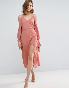 photo Cold Shoulder Long Sleeve Midi Dress by ASOS, color Dusty Pink - Image 1