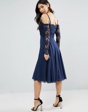 photo Long Sleeve Midi Dress by ASOS Kate Lace, color Navy - Image 2