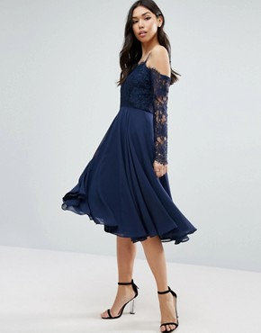 photo Long Sleeve Midi Dress by ASOS Kate Lace, color Navy - Image 1