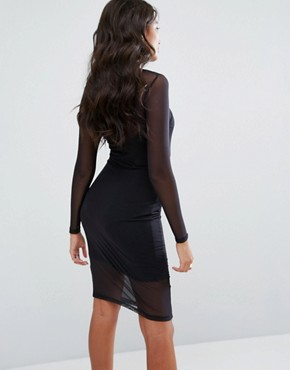 photo Bodycon Dress with Mesh Layer and Tonal Logo by Ellesse, color Black - Image 2