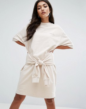 photo Oversized Sweat T-Shirt Dress with Tie Waist by Ellesse, color Cream - Image 1