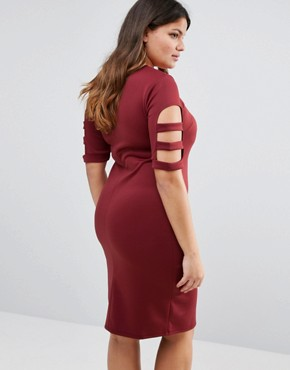 photo Caged Detail Bodycon Dress by Pink Clove, color Burgundy - Image 2