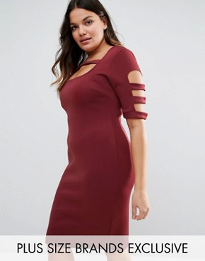 photo Caged Detail Bodycon Dress by Pink Clove, color Burgundy - Image 1