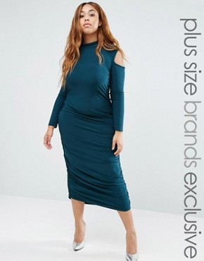 photo Cold Shoulder Slinky Dress with High Neck by Pink Clove, color Green - Image 1