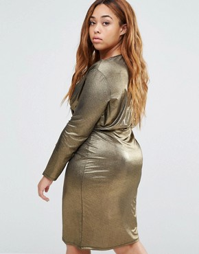 photo Metallic Long Sleeve Dress by Pink Clove, color Gold - Image 2