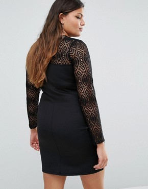 photo Lace Insert Long Sleeve Bodycon Dress by Pink Clove, color Black - Image 2