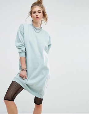 90dbff61b2 Longline Sweat Dress by Noisy May - Blue Surf