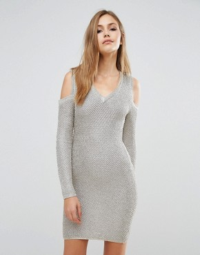 photo Long Sleeve Metallic Sweater Dress by WOW Couture, color Gold - Image 1