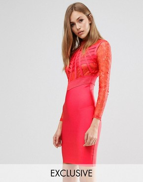 photo Bandage Lace and Cage dress by WOW Couture, color Red - Image 1