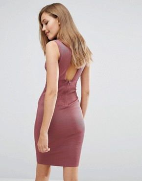photo Bandage Lace Up Front Dress by WOW Couture, color Rose Brown - Image 2