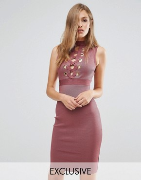 photo Bandage Lace Up Front Dress by WOW Couture, color Rose Brown - Image 1