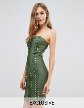 photo Bandage Sweetheart Dress With Lace Up Detail by WOW Couture, color Dark Olive - Image 1