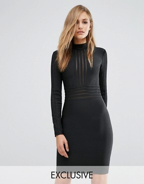 photo Bandage High Neck Dress with Mesh Inserts by WOW Couture, color Black - Image 1