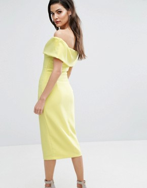 photo Bardot Pencil Dress by The 8th Sign, color Citrus Yellow - Image 2