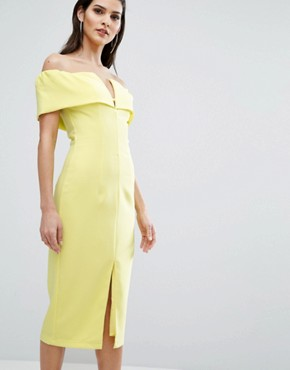 photo Bardot Pencil Dress by The 8th Sign, color Citrus Yellow - Image 1