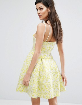 photo Bonded Lace Skater Dress by The 8th Sign, color Citrus Yellow - Image 2