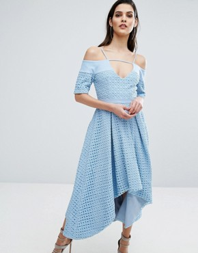 photo Hibiscus Lace Full Skirt Dress by The 8th Sign, color Blue - Image 1