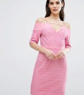 photo Lace Cold Shoulder Midi Dress by The 8th Sign, color Pink - Image 1