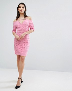 photo Lace Cold Shoulder Midi Dress by The 8th Sign, color Pink - Image 4