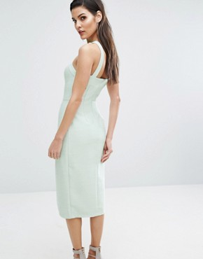 photo Neck Detail Midi Dress by The 8th Sign, color Pale Mint - Image 2