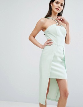 photo Neck Detail Midi Dress by The 8th Sign, color Pale Mint - Image 1