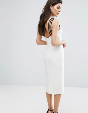 photo Neck Detail Contrast Midi Dress by The 8th Sign, color Ivory - Image 2